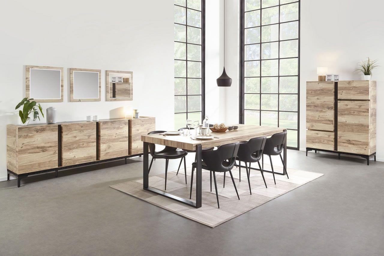 salle a manger complete industriel buffet 220 cm bois et metal barosse