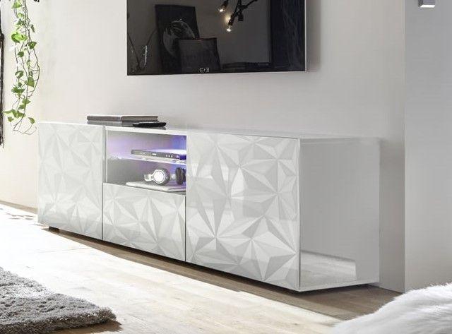meuble tv bas design serigraphie 2 portes 1 tiroir laque brillant palerme blanc