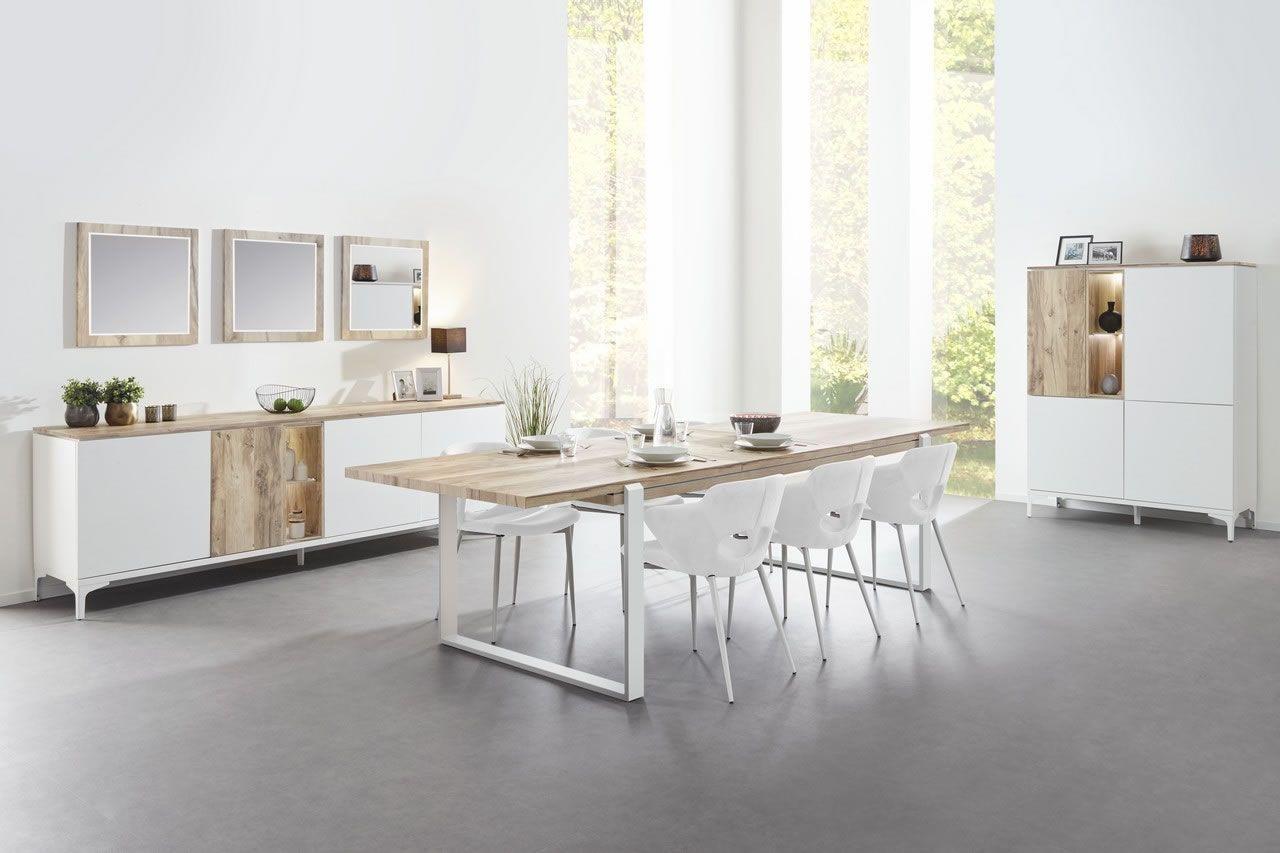 salle a manger complete table 180 a rallonge blanc et bois naturel vorane