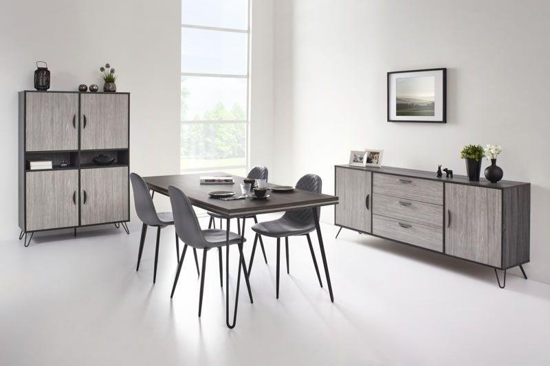 salle a manger style industriel bahut 200cm table buffet chene gris viseo