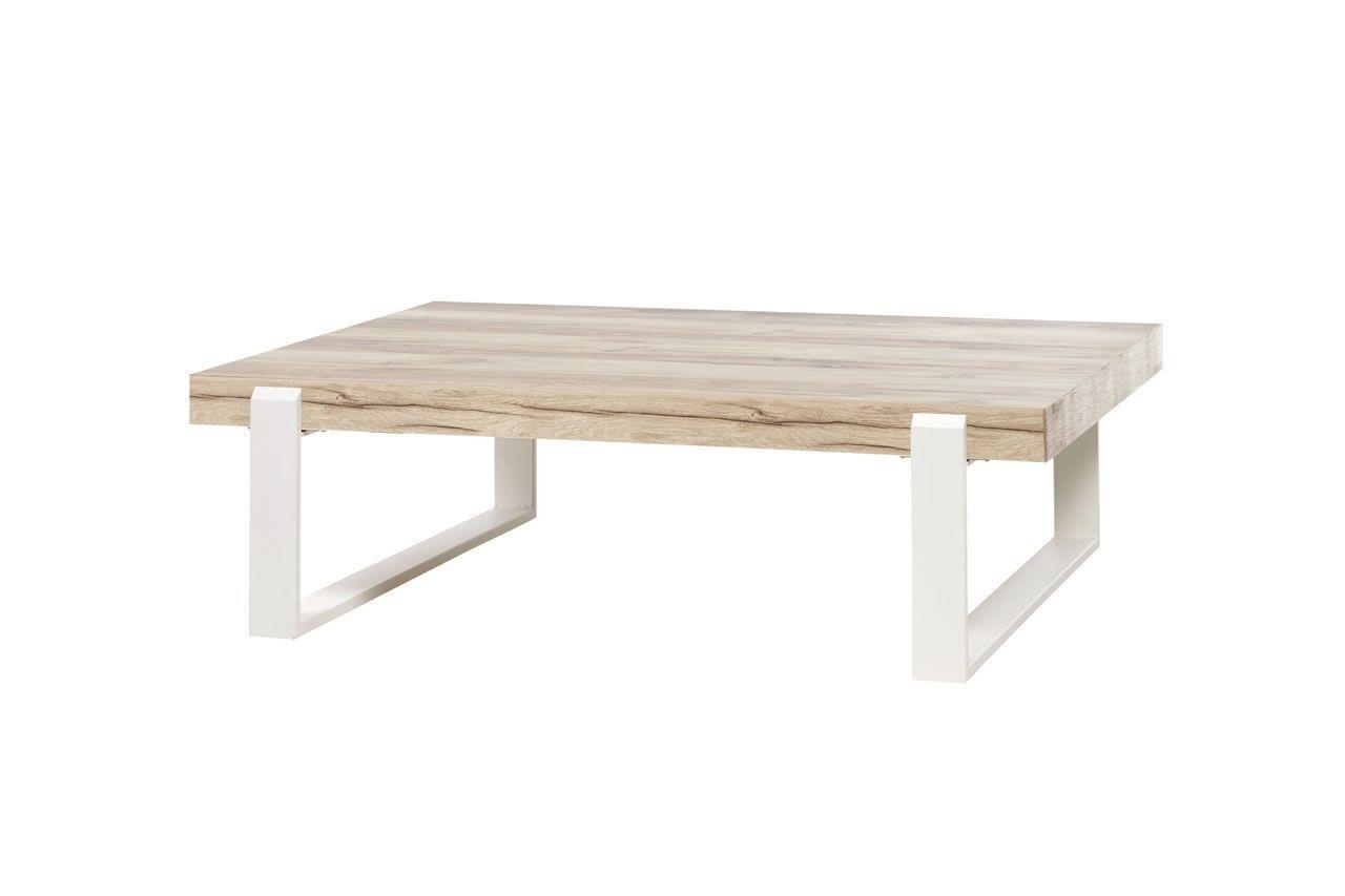 table basse style scandinave bois naturel et pieds metal blanc vorane
