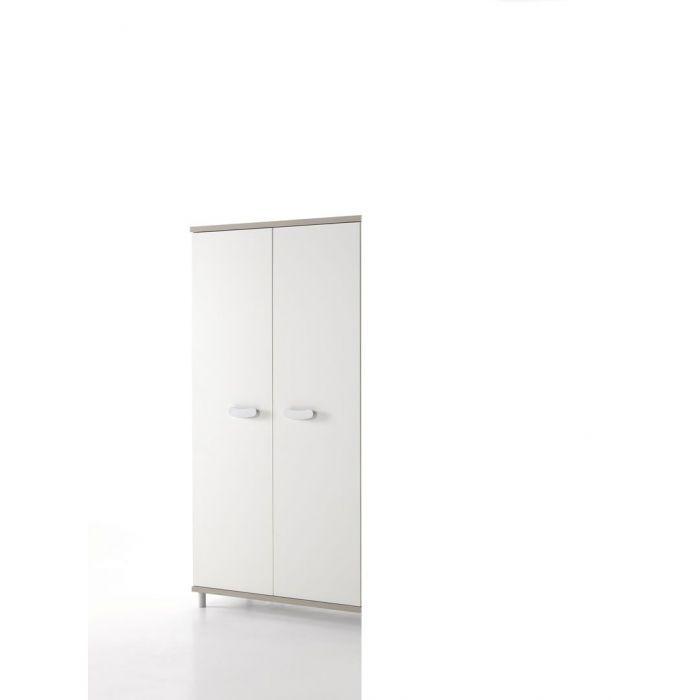 armoire enfant 2 portes greige et blanc noro