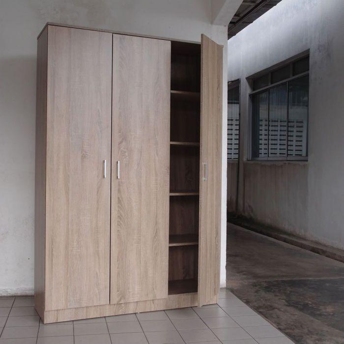 armoire lingere 3 portes 8 etageres chene sonoma dylan