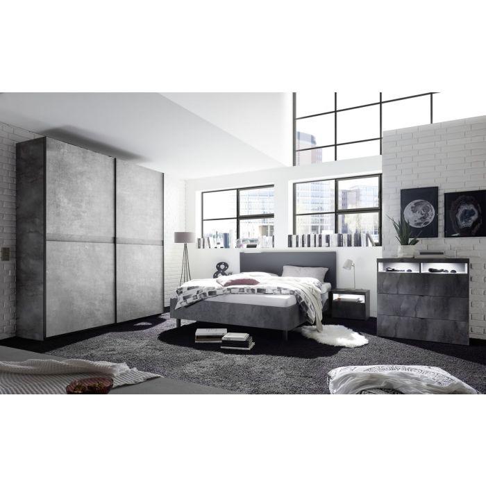 chambre a coucher adulte contemporaine lit 180 cm gris beton lory