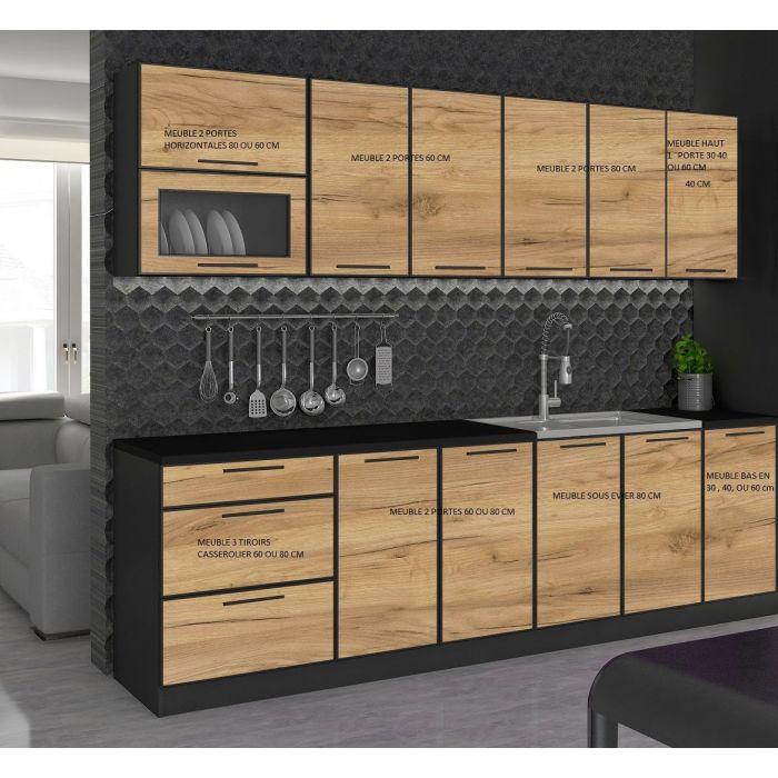 meuble bas de cuisine 1 porte 40 cm noir et bois mexique