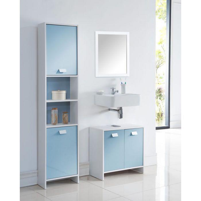 colonne de salle de bain blanc et bleu virgo