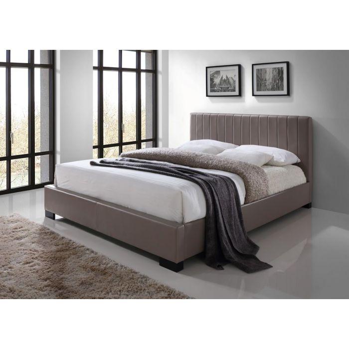 lit double de 140 cm avec sommier et tete de lit pu taupe merced