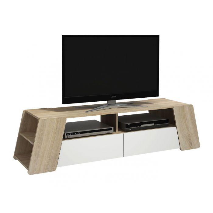 meuble tv 2 tiroirs tracy blanc et chene clair