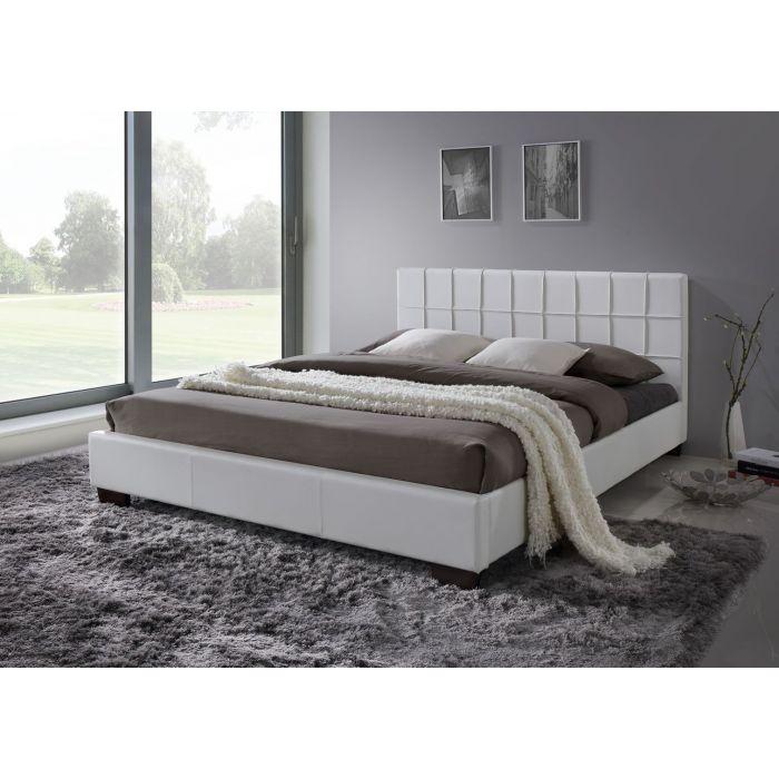 lit double 160 x 200 cm avec tete de lit et sommier loraine blanc