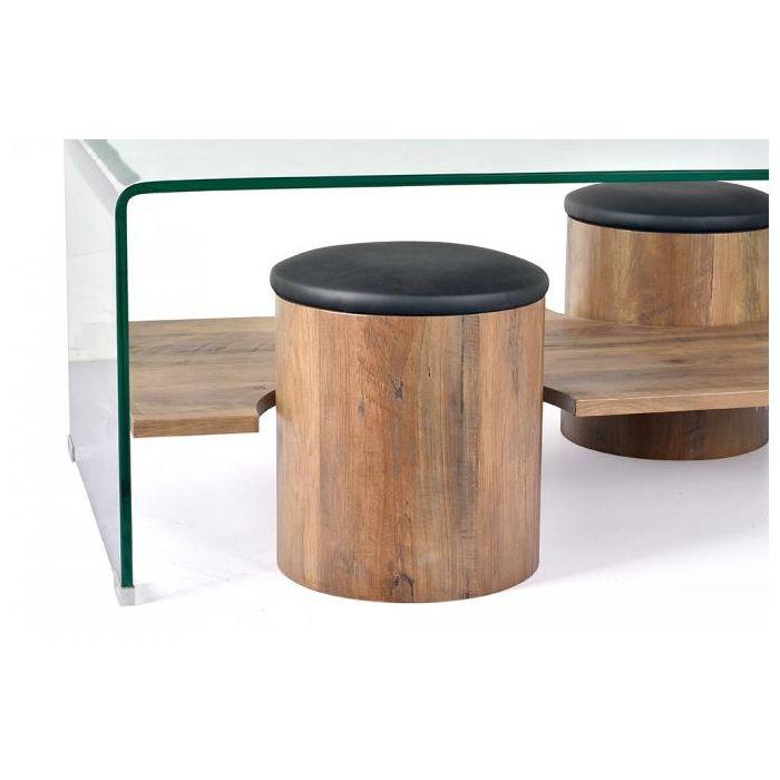 table basse design en verre avec poufs reza