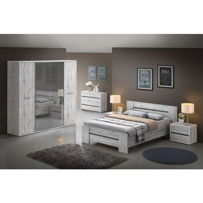 chambre a coucher adulte complete chene grise dreams lit double de 140 cm