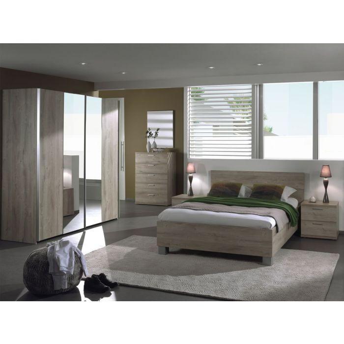 chambre a coucher complete adulte armoire portes coulissantes dalia 160 x 200 cm