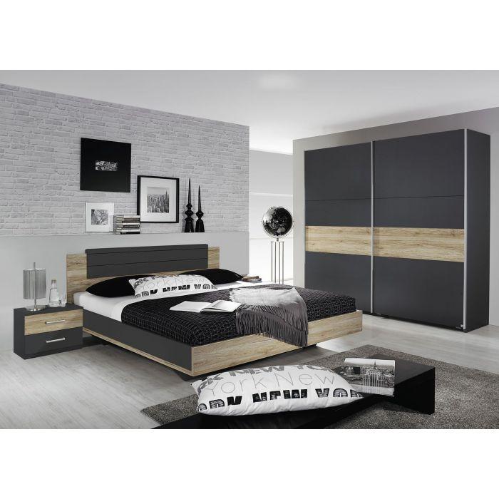chambre complete adulte armoire 175 cm rochefort gris et chene lit 160 cm