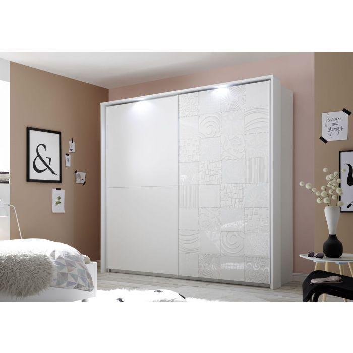 armoire penderie design 2 portes coulissantes dont 1 serigraphiee spots blanc parme 243 cm