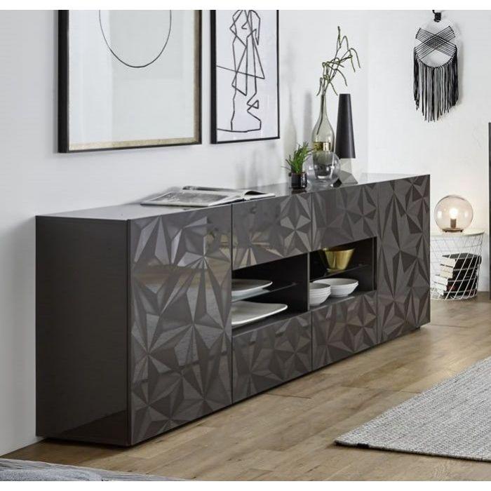 buffet design serigraphies 2 portes 4 tiroirs 4 niches laque brillant palerme gris
