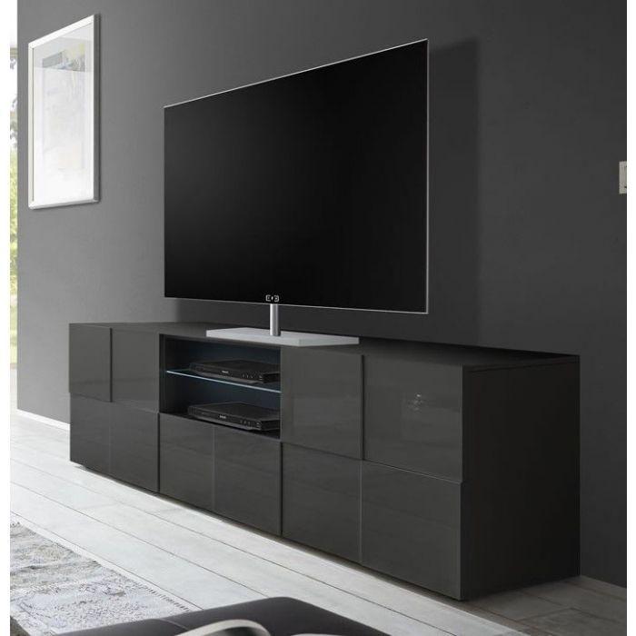 meuble tv design 3d 2 portes 1 tiroir gris fonce laque mada