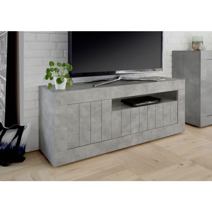 meuble tv 3 portes 1 niche gris beton charlie