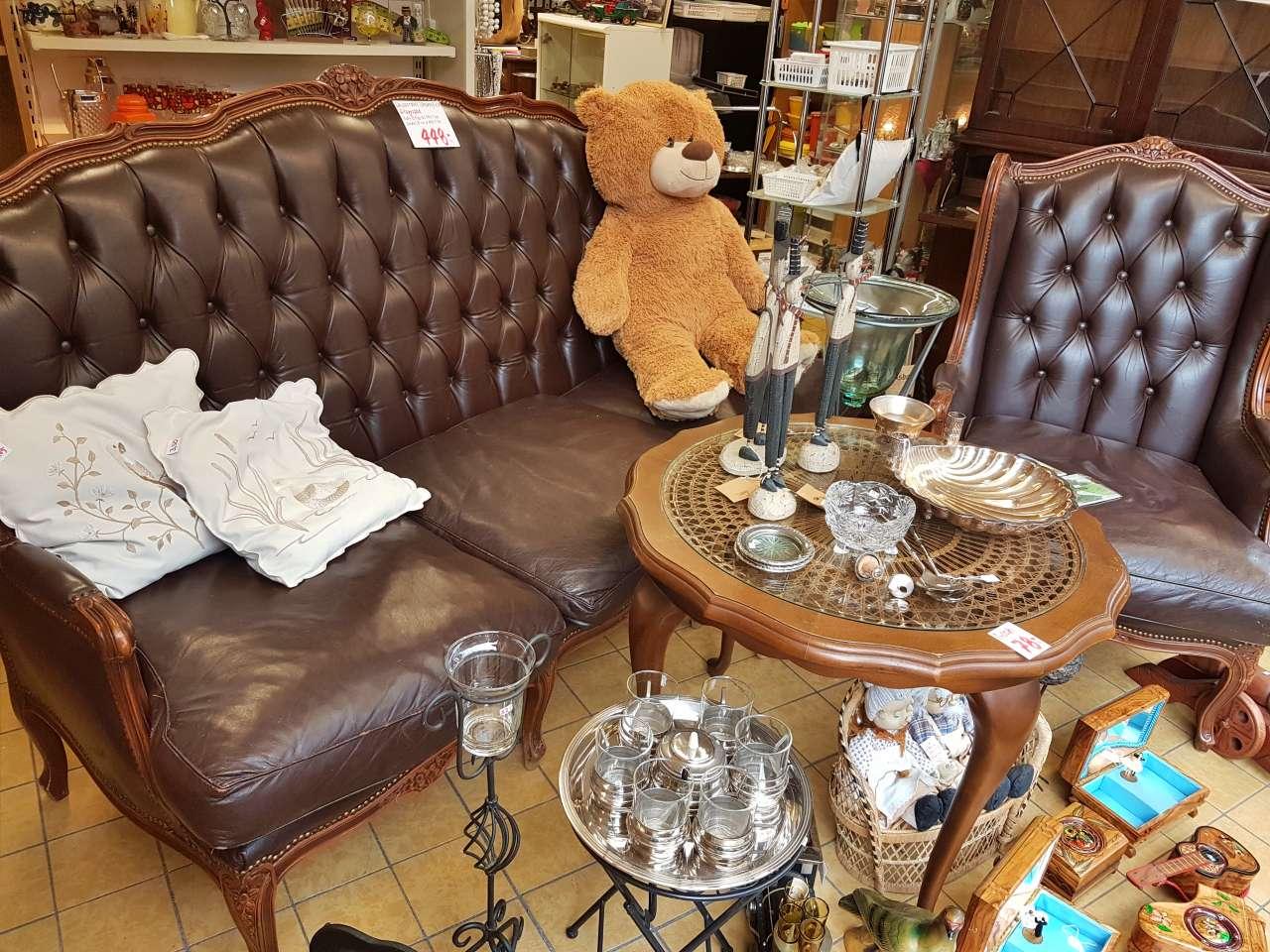 Chippendale Chesterfield Sitzgarnitur Sofa Sessel antik