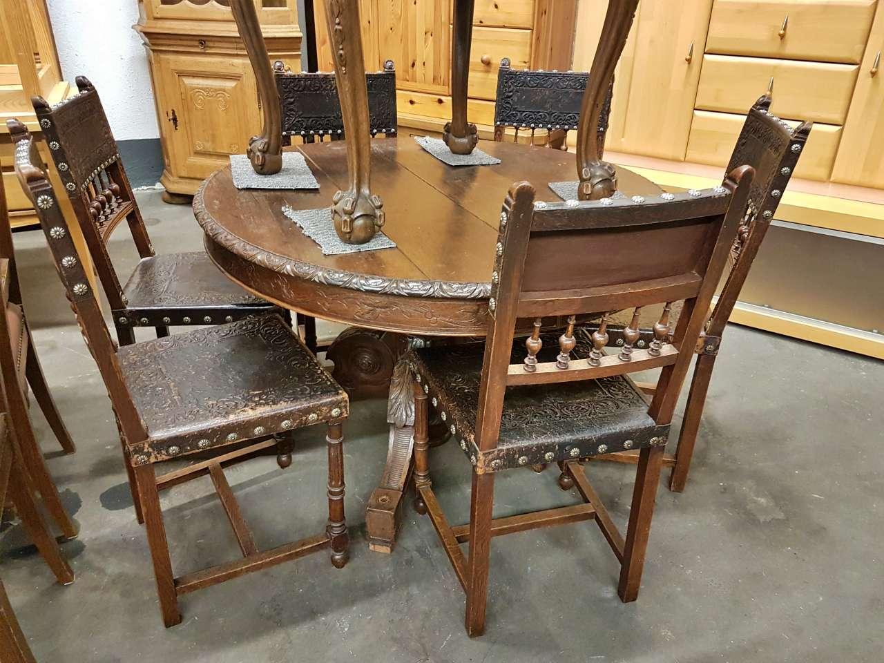 Essgruppe Tisch 6 Stühle Gründerzeit antik