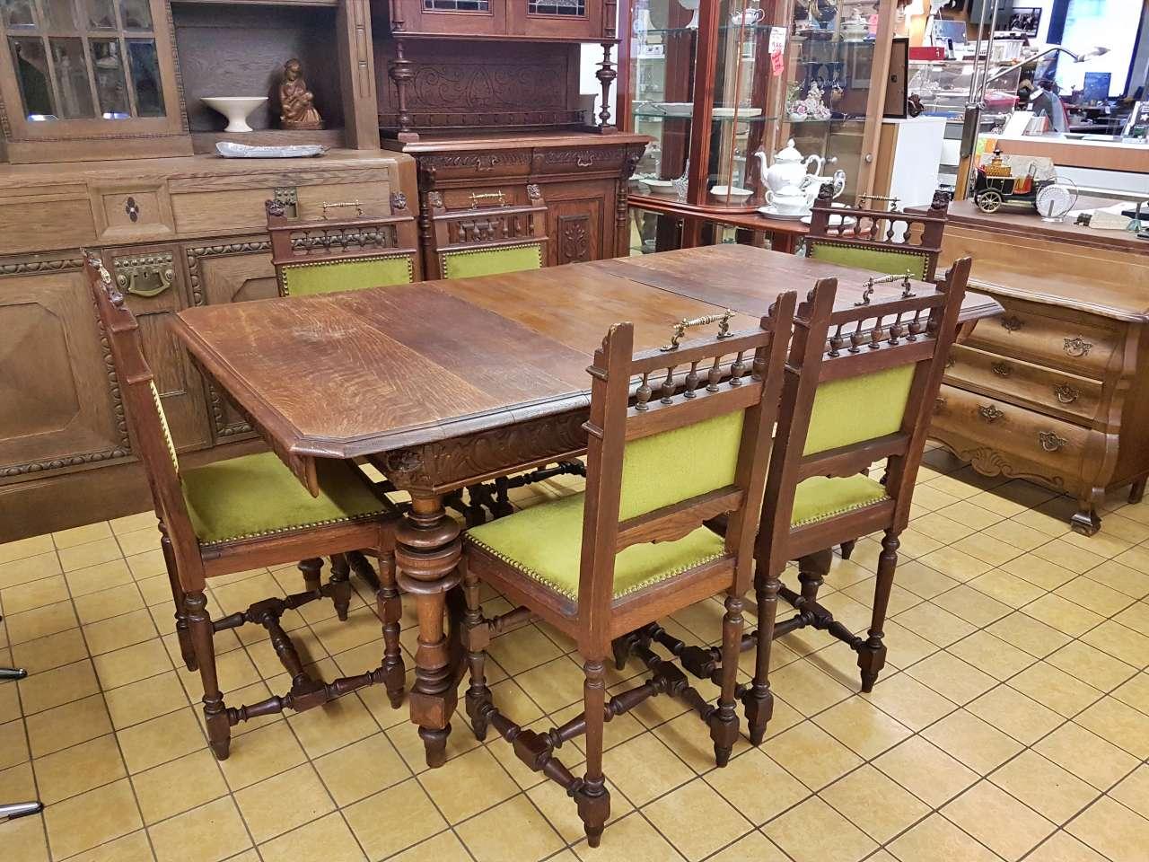 Antike Möbel Essgruppe Tisch mit 6 Stühlen Eiche Gründerzeit