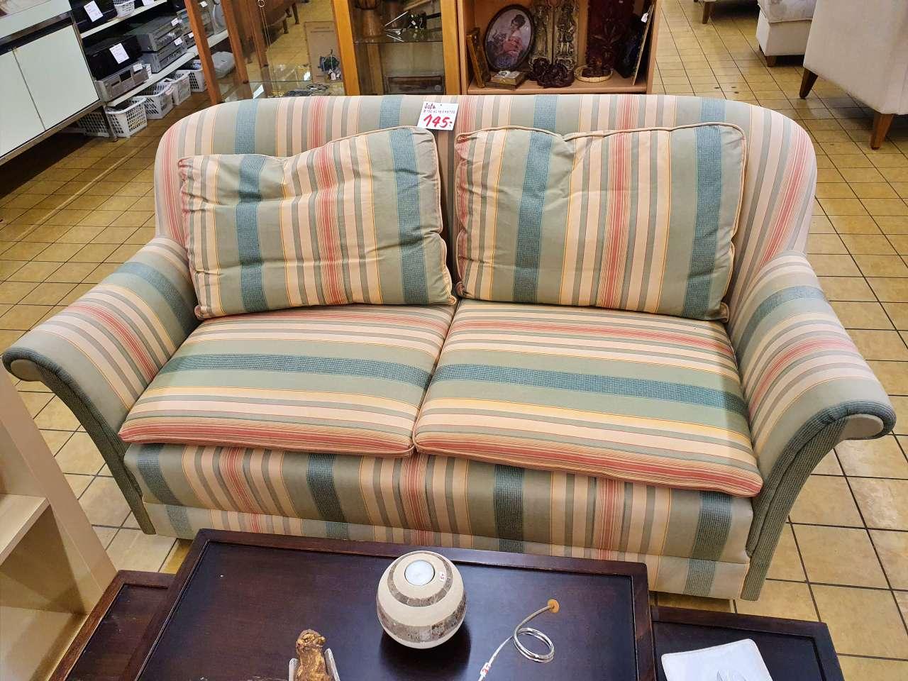 Sofa Couch 2Sitzer Stoff gestreift