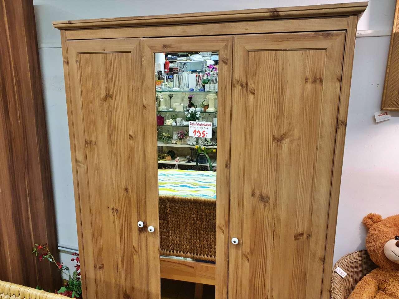 Kleiderschrank Dielenschrank Holzoptik mit Spiegel