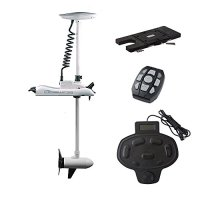 Aquos Haswing CaymanB 12v 55lbs Bow Mount Electric Trolling Motor White with Foot Control With Quick Release Bracket