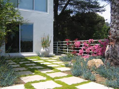 Sân nứt trồng cỏ non xanh và hoa tươi tràn đầy vẻ thơ mộng
