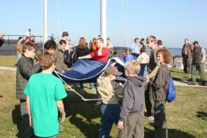 Troop 250 raises SC Flag Ft Sumter