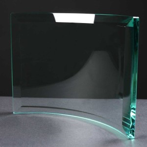 10mm thick Curved Engraved Glass Award Supplied In White Cardboard Box. Price Includes Engraving.