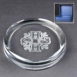 Engraved Round Glass Paperweights Supplied In A Blue Cardboard Box. Price Includes Engraving.