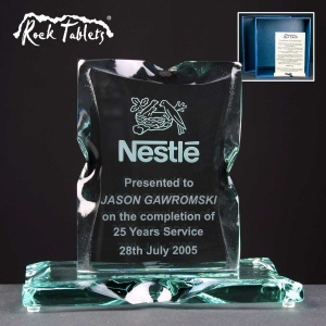 Portrait Rock Tablet Glass Awards Supplied In A Branded Box. Price Includes Engraving.