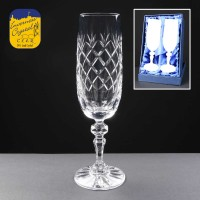 2x Earle Crystal Engraved Champagne Glasses With Panel For Engraving In Presentation Box