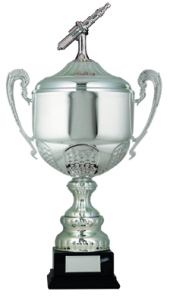 Silver Coloured Motor Sport Trophy Cups On Black Plastic Base