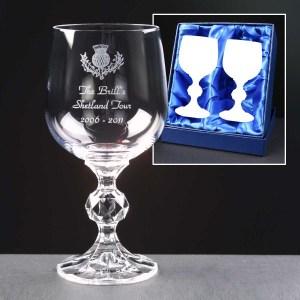 2x Claudia Engraved Wine Glasses In Presentation Box