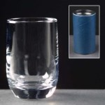 2oz Loto Engraved Shot Glasses In Blue Cardboard Tube