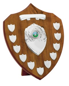 Beech Coloured Wooden Annual Shields With Silver Trims