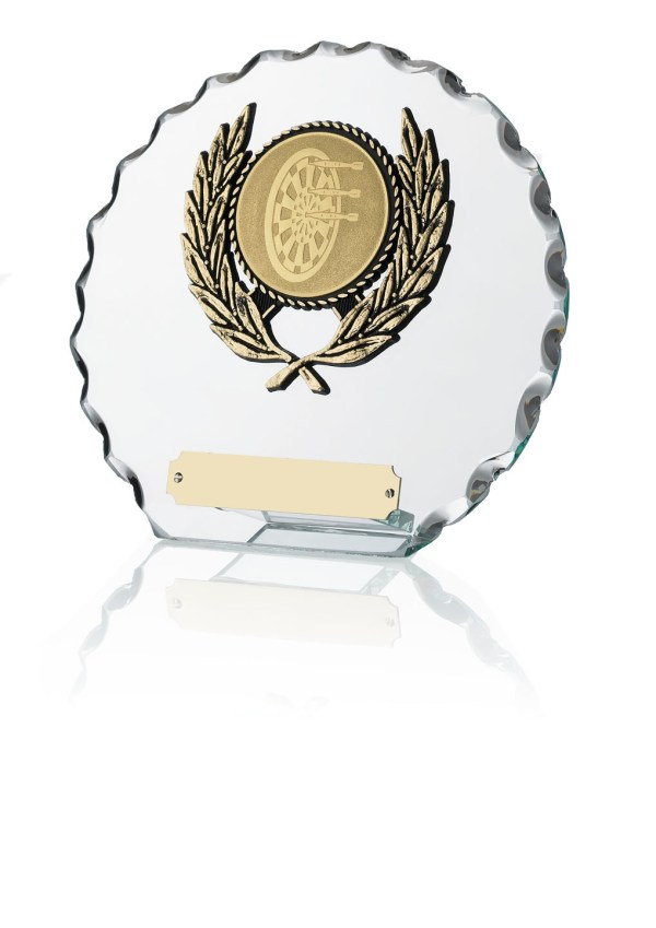 Circle Shaped Glass Plaques With Trim