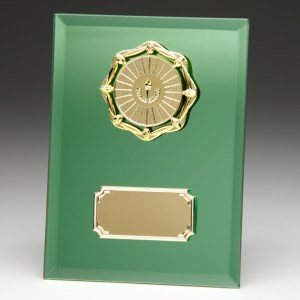 Green Coloured Glass Plaques With Trim