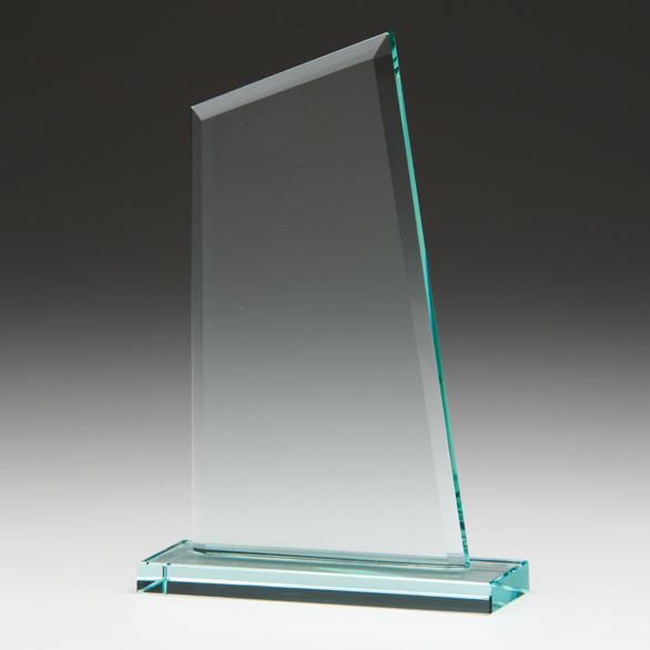 Angled Jade Glass Awards Supplied In White Cardboard Box