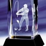 Glass Fishing Trophies With 3D Engraved Fisherman