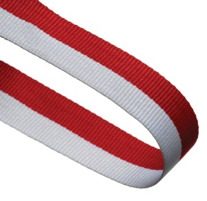Red / White Woven Medal Ribbons With Clip