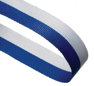 Blue / White Woven Medal Ribbons With Clip