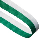 Green / White Woven Medal Ribbons With Clip