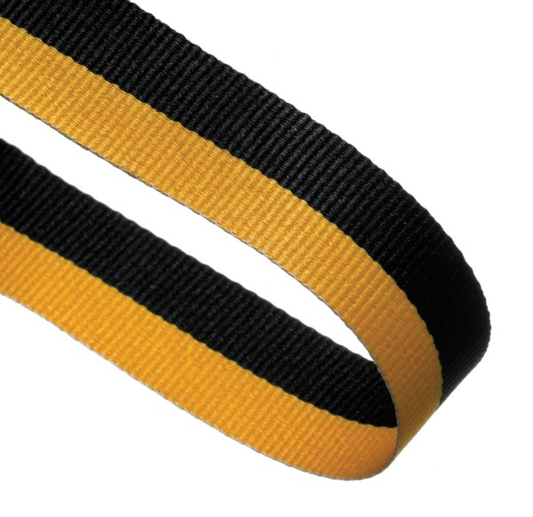 Black / Yellow Woven Medal Ribbons With Clip