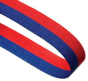 Blue / Red Woven Medal Ribbons With Clip