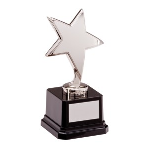 Silver Coloured Metal Star Trophies On Black Plastic Base