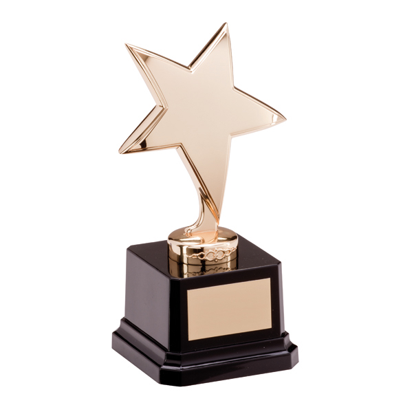 Gold Coloured Metal Star Trophies On Black Plastic Base