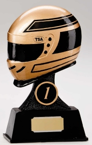 Resin Motor Sport Trophies In Antique Gold And Black Coloured Finish