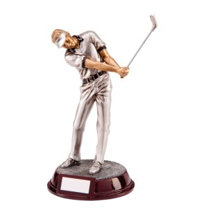 Resin Golf Trophies In Antique Silver Coloured Finish